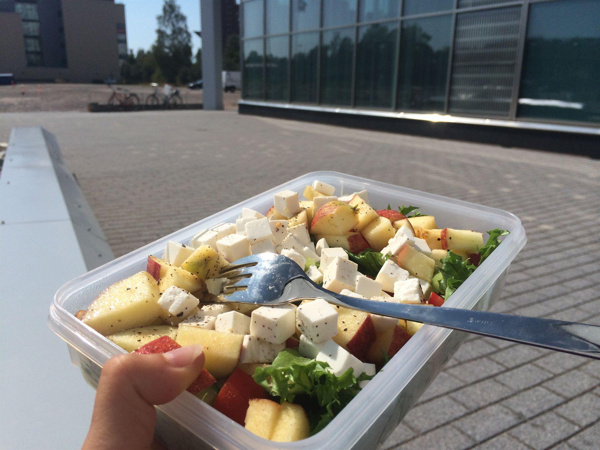 Omien ruokien suhteen menin yli siitä mistä aita on matalin, eli aika salaattipainotteiset ruoat oli tarjolla