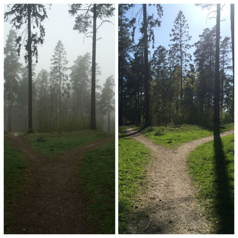 Matka on sama mutta voit itse vaikuttaa kuljetko sen auringossa vai synkässä sumussa